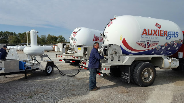 Image of employee refilling Auxier Gas trucks