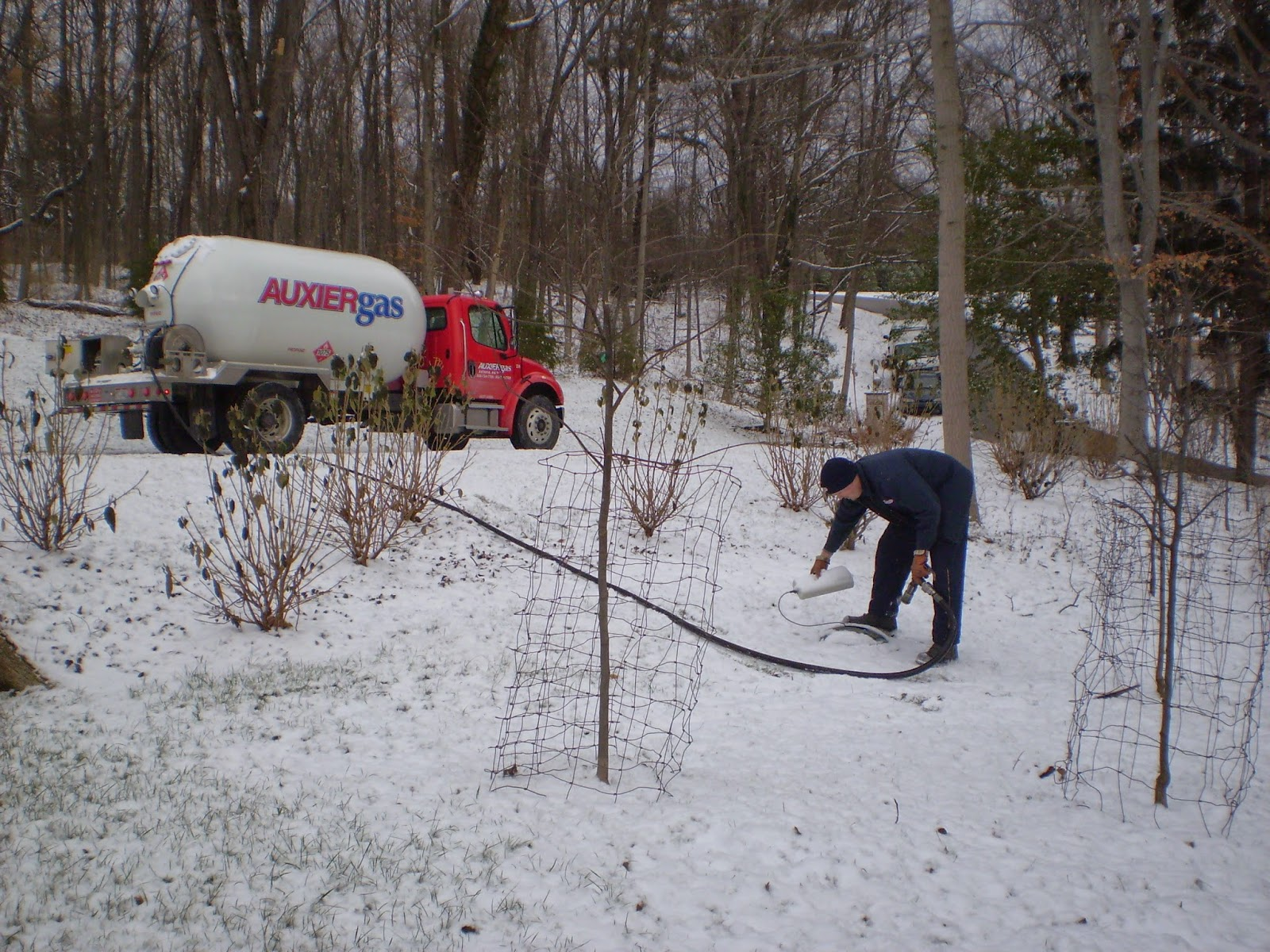 Image of Auxier Gas employee filling propane tank